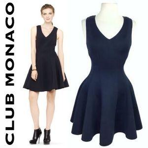 Club Monaco Autumn Fit Flare Neoprene Black Dress